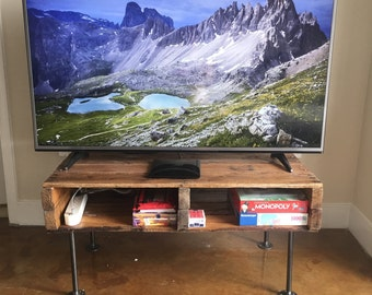 Rustic TV Stand Entertainment Center With Cast Iron Legs -- FREE SHIPPING