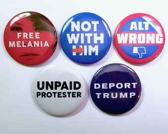 Anti-Trump Buttons 5-Pack Assorted