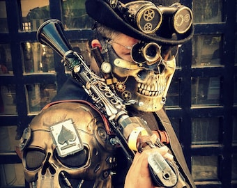 Steampunk Skull Shoulder Postapocalyptic Cyberpunk Cosplay