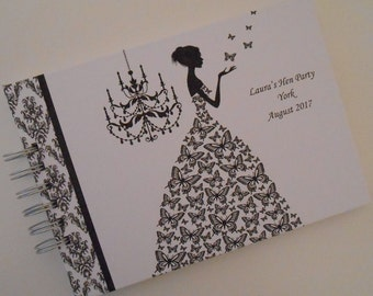 Personalised HEN PARTY Guest Book Photo Album Scrapbook Hen Night Butterly Lady Black & White Hen Do Book Bride To Be Gift Book
