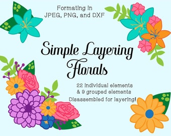 Layering Floral Clipart and Cut Files for Vinyl - Floral Elements and Groupings in JPEG DXF and PNG Format