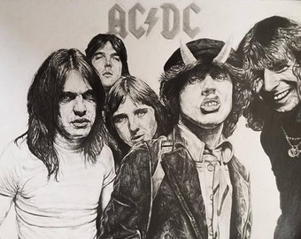 AC/DC Highway To Hell Drawing ( Framed Print )