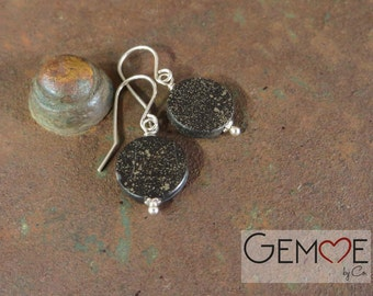 Unique jewelry. Earrings in Pyrite and Slate. Black and gold.