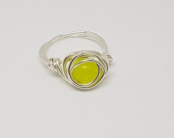 Wire Wrapped Peridot Ring - Size N/7