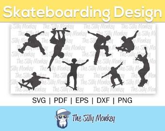 Skateboard Clipart SVG Pack | Clipart svg, png, eps, dxf, cricut skater silhouette cameo design files