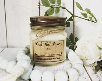 MAGNOLIA-GARDENIA, soy wax candle, spring fragrance, hand poured, all natural, eco friendly, mason jar candle