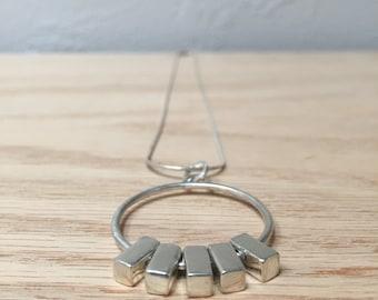 Sterling Silver Necklace No. 13 - Circle Pendant - Geometric - Modern - Handmade