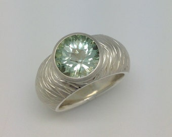 Argentium and Green Amethyst Ring