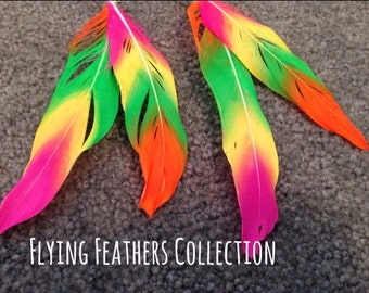 Neon Flying Feathers Feather Clips
