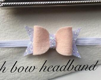 Peach bow headband