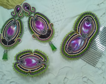 Accessories for holidays, accessory for flamenco, fair, soutache, bride wedding, jewelry, jewelry for weddings, flamenco earring