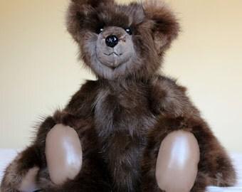OOAK  Fox Fur Teddy Bear From Re-Purposed Vintage Fur Coat