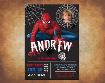 Spiderman Invitation with your boy as Spiderman! Spiderman Birthday Invitation, Amazing Spiderman Invitation, Custom Photo Spiderman