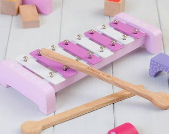 Personalised Pink Childrens Xylophone Set