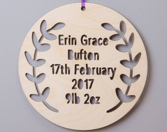 Personalised Birch Wood Christening Hanging Sign