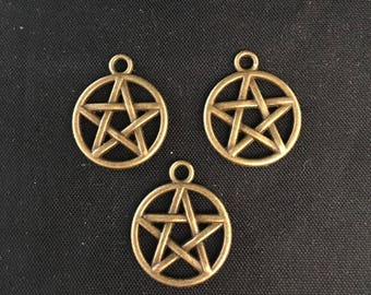5 pendants charms form PENTACLE pentagram, 17mm diameter
