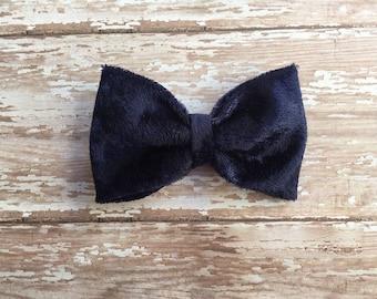 Navy velvet bow, hair bow, baby bow, baby headband, snap clip, elastic