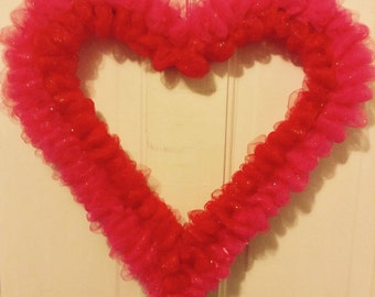 "16"" 2 Toned colored Heart Wreath"