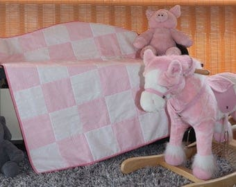 Baby Girl Quilt, Pink and White Quilt, Pink Nursery Quilt, Crib Quilt,