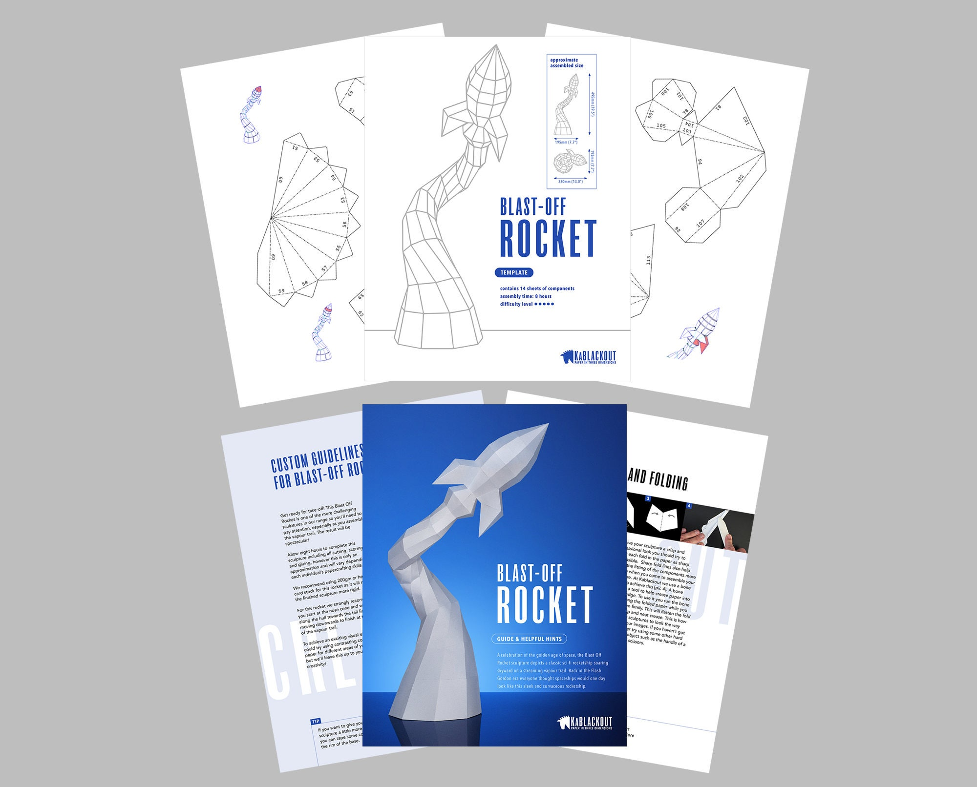 Low poly papercraft rocket paper rocket desk decor for Space blast 3d