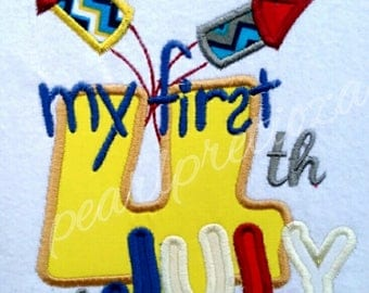 My first 4th of July personalized embroidery design-boy or girl-t-shirt-gift
