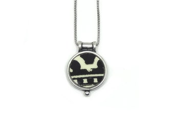 YANELA. Pendant made by antique porcelain and sterling silver.