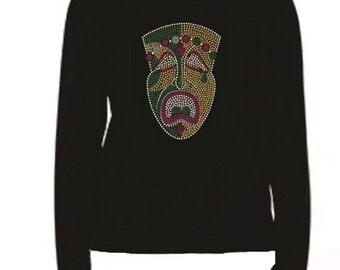Mardi Gras Mask Rhinestone Ladies T Shirt                                                                    LR VKGH
