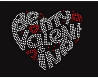 Be My Valentine Heart Rhinestone Iron On Transfer                               R7R4