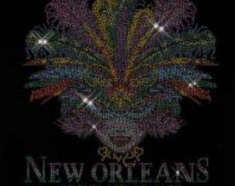 New Orleans Mardi Gras Mask Rhinestone Ladies T Shirt or DIY Iron on Transfer              9D75