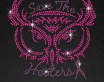 Rhinestone Pink Owl Breast Cancer  Ladies T Shirt or DIY Iron On Transfer     V1O1