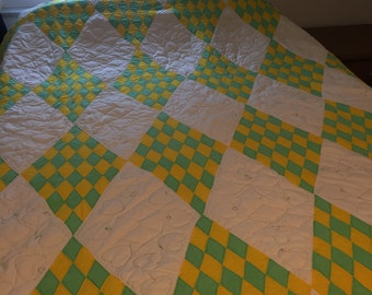 Vintage Green, Yellow and White Playing Cards Quilt