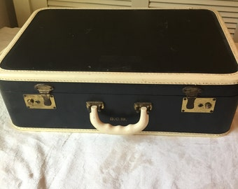 Navy Blue and White Vintage Suitcase