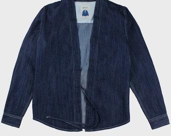 Noragi Kimono Shirt (Indigo Blue)