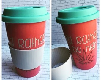 Reusable Ceramic Tea or Coffee Mug, I'd Rather Be High, Red and Blue, Lid and Sleeve, Ready To Ship