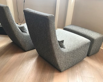 """Two Ligne Roset Rocking Lounge Chairs (""""Neo""""), and one footstool"""
