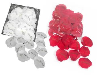 75 Wedding/Table/Confetti Rose Petals with just married OR i love you messages