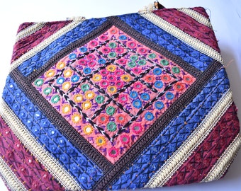 Beautiful handmade bag with mirror work and hand embroidery