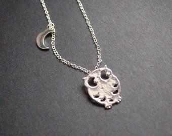silver tone owl moon necklace