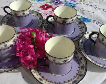 Vintage Art Deco Aynsley. Fine bone china coffee set. 5 demi-tasse cups and saucers. Rare lavender colour. Pattern # 3268