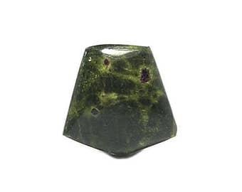 Green Serpentine and Violet Stichtite Gemstone Cabochon, Gem Mined in Tasmania, AKA New Jade Snake Stone