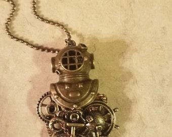 Steampunk, deep sea diver, octopus, gears