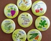 The Seven Species, Jewish Art, Jewish Gift, Rosh Hashanah Gift, Hebrew, Fruit Art, Tu Bishvat, Fig, Olive, Pomegranate, Wheat, Dates