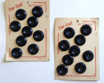 2 Cards of True Craft Vintage Navy Blue Buttons-18 Total Buttons-NOS-USA