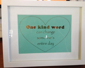 One Kind Word - Gold Foil Horizontal Framed Quote