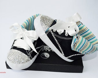 100% Swarovski baby shoes, baby crib shoes with Swarovski crystals, baby crystalized shoes, Swarovski crib shoes