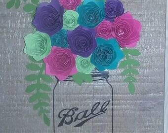 Mason Jar with flowers wall hanging