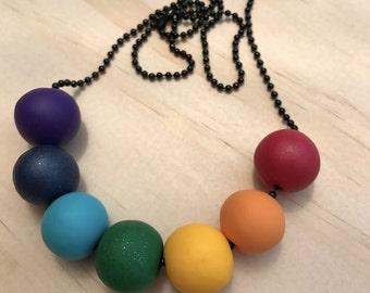 Handmade I love rainbows polymer clay bead necklace