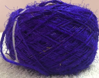 Recycled Sari Silk Yarn - Purple Blue Shade (100 Grams)