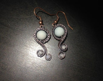 Wire Wrapped Amazonite and Moonstone Drop Earrings