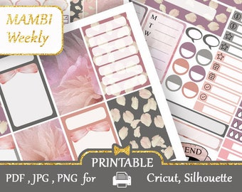 MAMBI Happy Planner 2018 stickers printable Weekly kit Gray Pink Stickers Kit Mambi Vertical Printable Happy Planner, Silhouette, Cricut